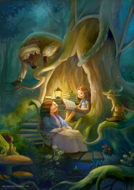 avo e menina lendo