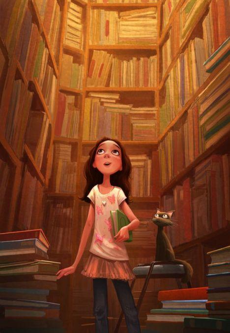menina procura livro